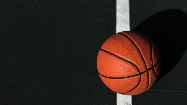 Close up of basketball on court