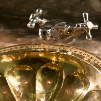 Close-up of bathroom sink in the la sultana hotel, marrakesh, morocco