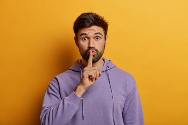 Close up on bearded young man isolated