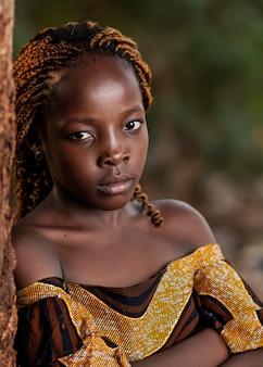 クローズアップの美しいアフリカの女の子