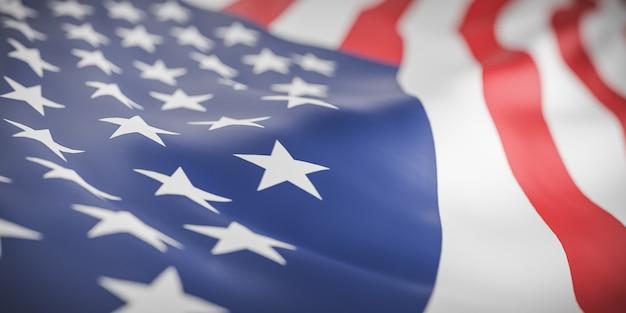 美しいアメリカの旗の波を閉じる