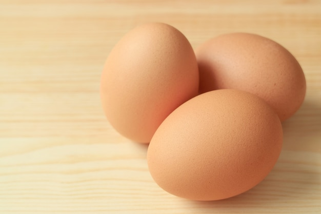 Close up on beautiful chicken eggs