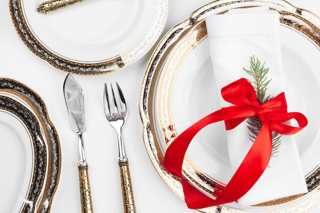 Close up beautiful christmas table setting with decorations