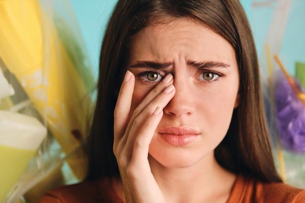Close up of beautiful crying girl