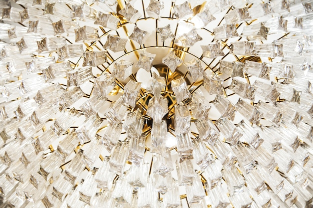 Close-up of a beautiful crystal chandelier
