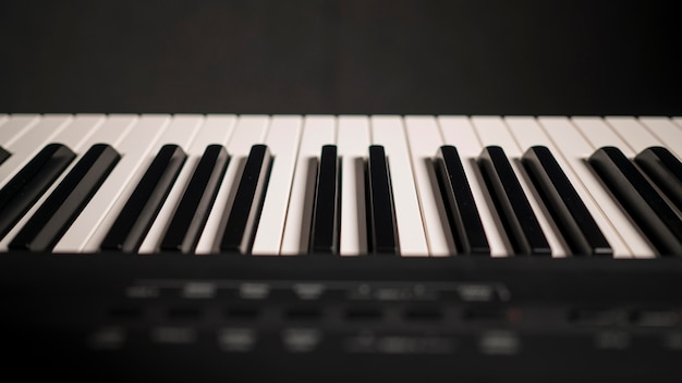Close-up beautiful digital piano with synthesizer