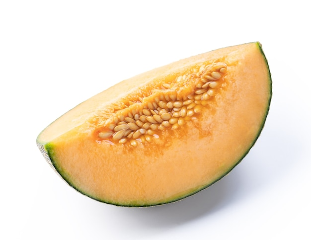 Close up of beautiful tasty sliced juicy cantaloupe melon, muskmelon, rock melon isolated on white background.