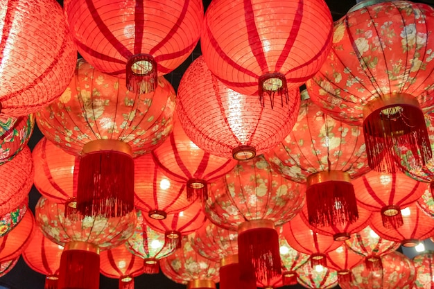 Close up beautiful traditional chinese lantern lamp in red color