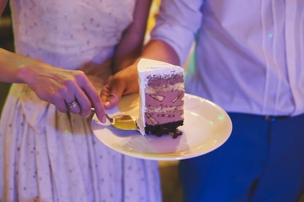 Close-up of a beautiful wedding cake