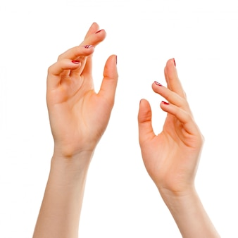 Close-up of beautiful woman's hands, palms up. isolated