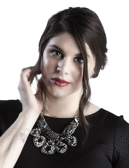 Крупным планом лицо красоты изображение женской модели кавказа