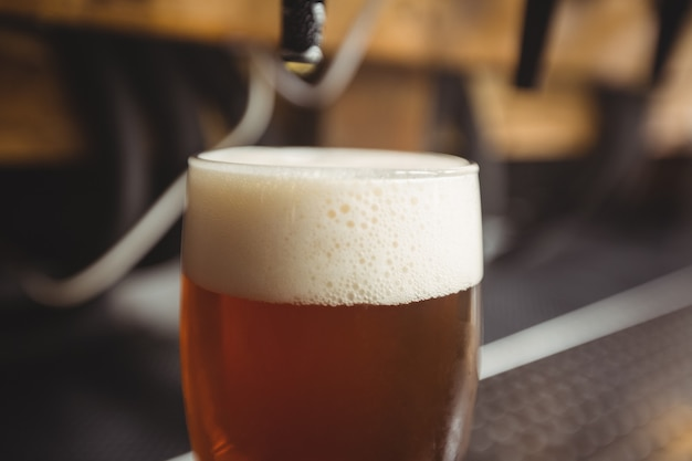 Close-up of beer glass with froth
