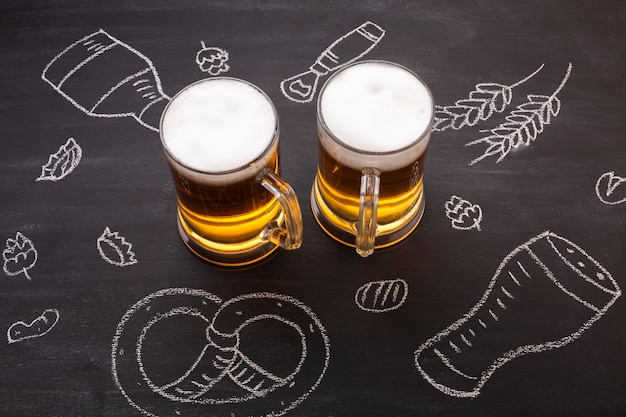 Close-up beer with chalkboard background