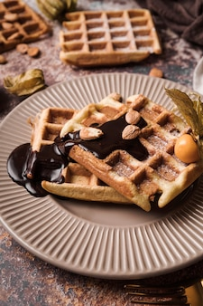 Close-up belgian waffle with topping
