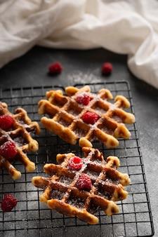 Close-up belgian waffles