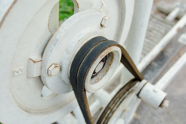 Close up belt and pulley on the motor