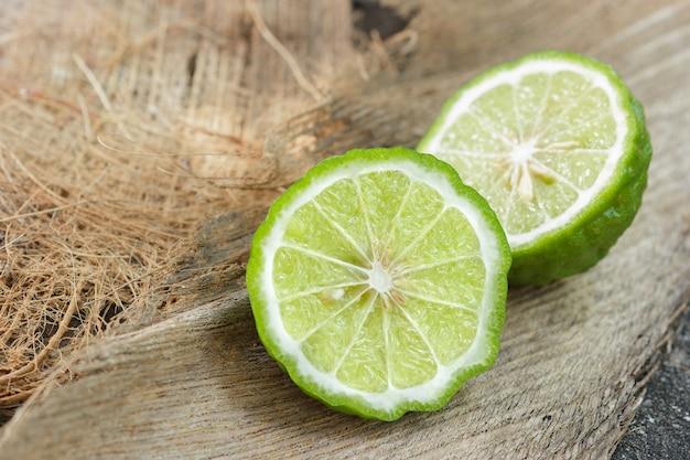 Close up bergamot  on coconut fiber background.