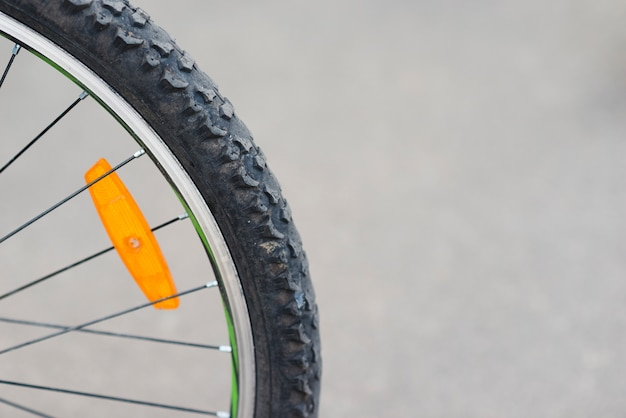 Close up of bicycle back wheel