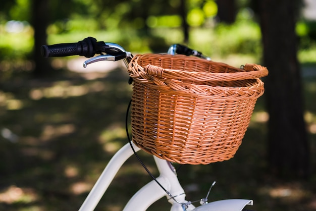 Close up of a bicycle basket