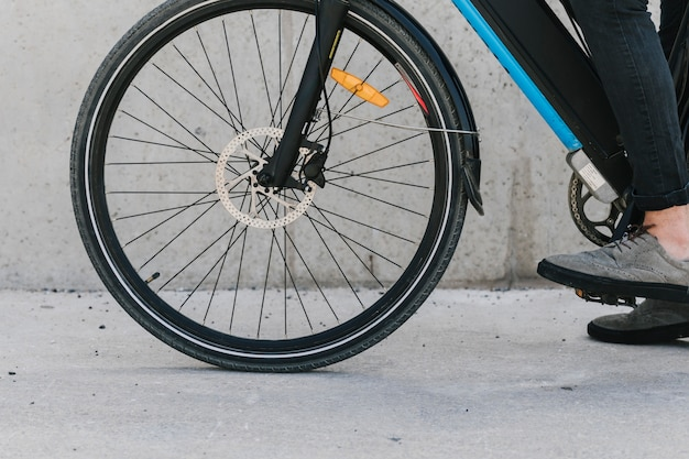 Close up bicycle front wheel