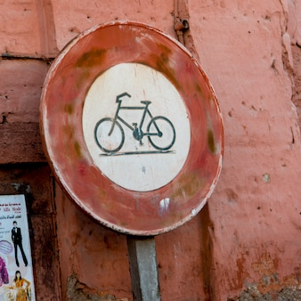 Close-up of a bicycle lane sign, medina, marrakesh, morocco