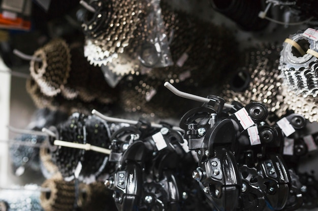 Close-up of bicycle parts in workshop