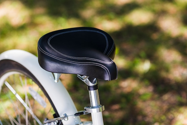 Close up of a bicycle seat
