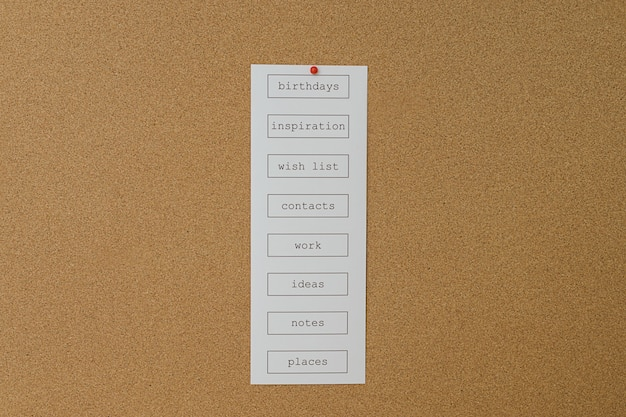 Close up of a big cork board with frame and a to do list of things to remember.