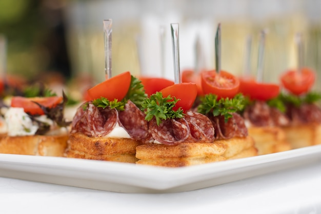 Close-up big plate with serving snack canapes fried bread tomato parsley and salami