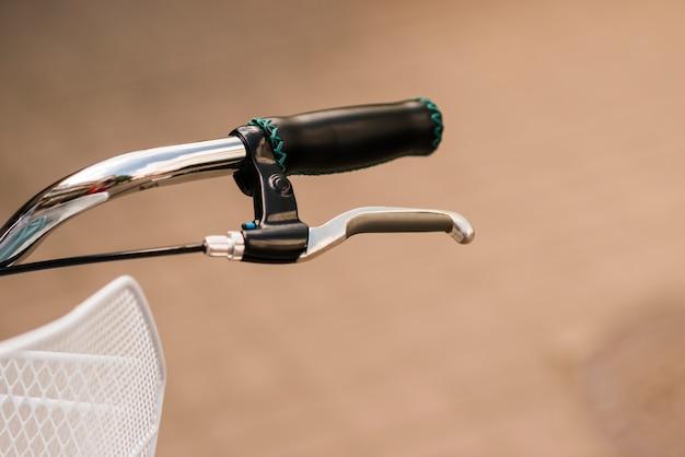 Close-up of a bike brake handle