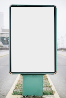 Close-up billboard on road