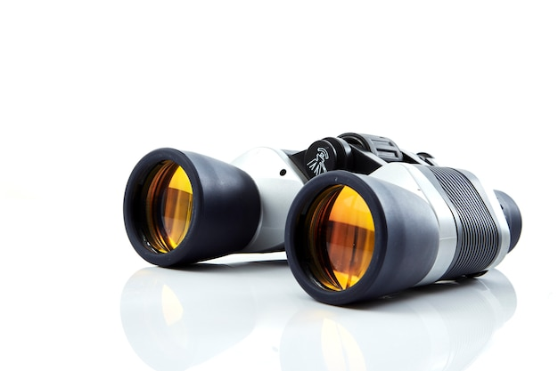 Close-up of binoculars  white background