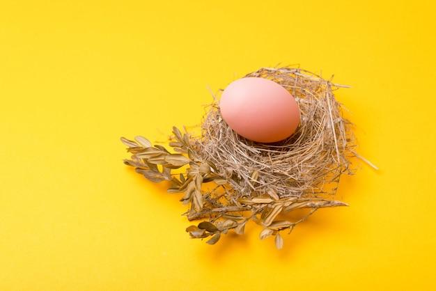 Заделывают птичье гнездо пасхальные яйца на желтом