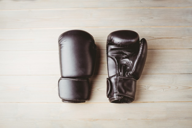 Close up of black boxing gloves