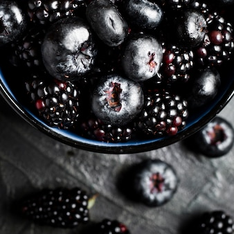 Close up black forest fruits in pot