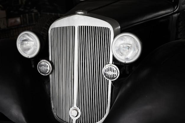 Close up of black retro car
