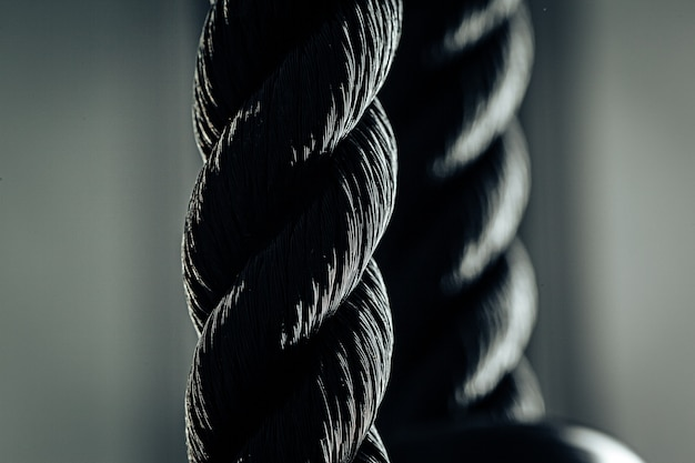 Close up of black rope in a gym