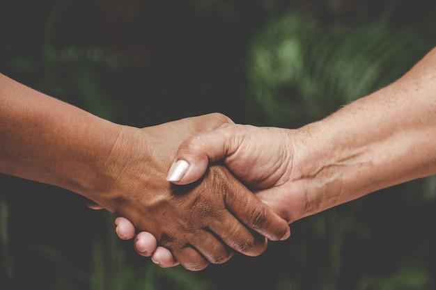 Close-up of black and white hand handshake.