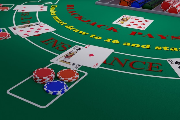 Close up of a blackjack table with cards and chips. 3d illustration.