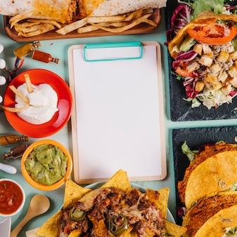クローズアップ、ブランク、クリップボード、メキシカン料理