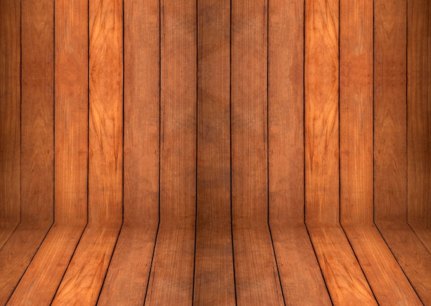 Close up blank curved  teak wooden wall and floor