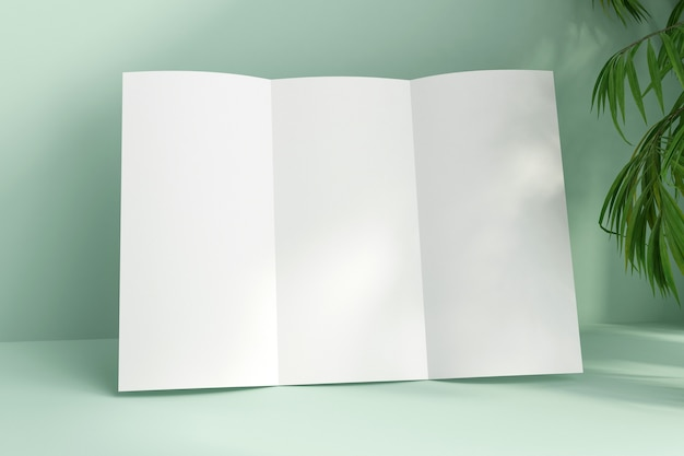 Close up on blank white paper trifold brochure