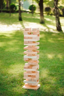 Close up blocks wood game. giant outdoor block game. the tower from wooden blocks.