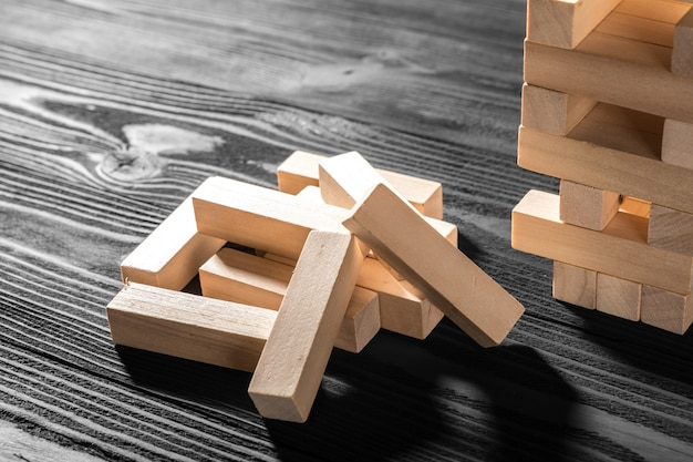 Close up blocks wood game isolated