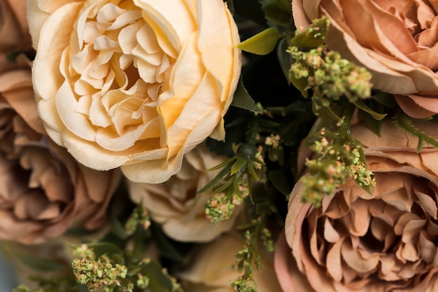 Close-up blossom roses bouquet