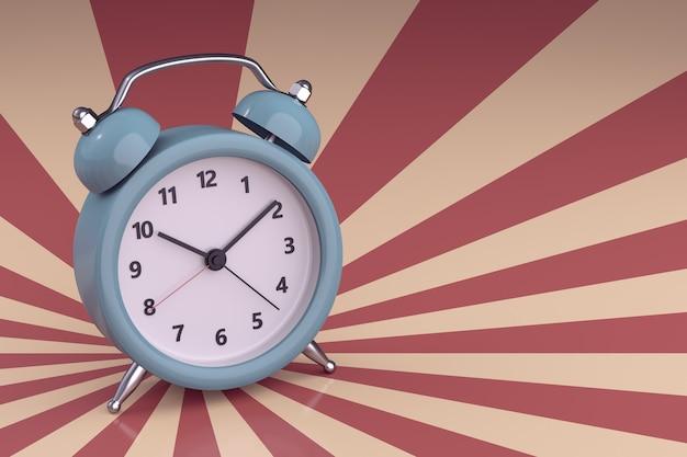 Close up blue alarm clock on retro background. 3d rendering