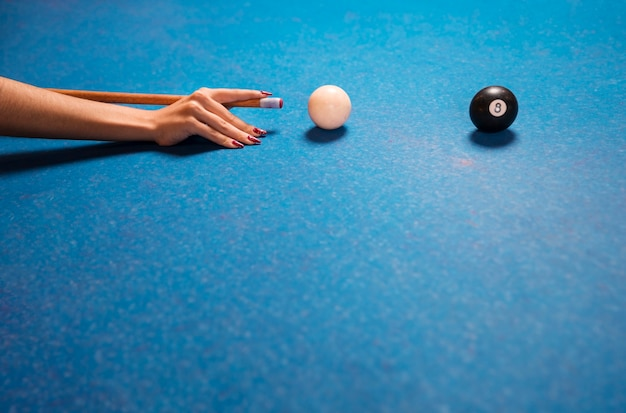 Close-up blue billiard table