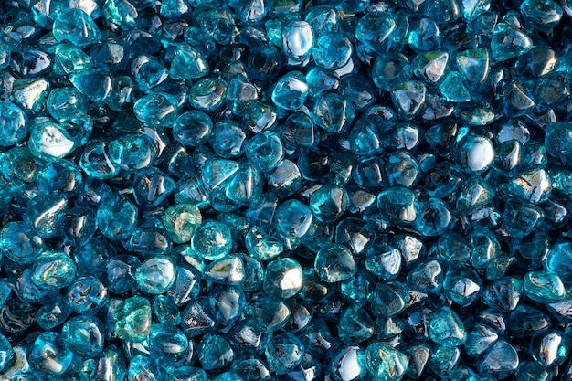 A close up of blue crystal rocks