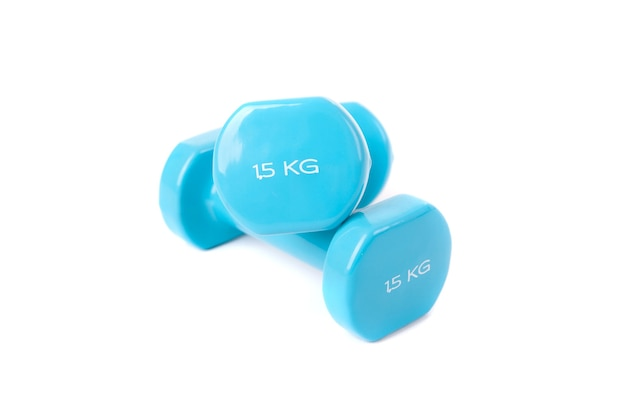 Close up on blue dumbells isolated