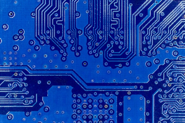 Close up of blue electronics circuit board